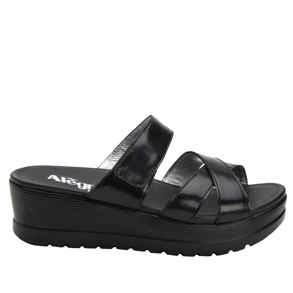 Mira Black flatform wedge slide sandal, with criss cross straps and hook and loop strap for adjustable comfort  - MIR-101_S2