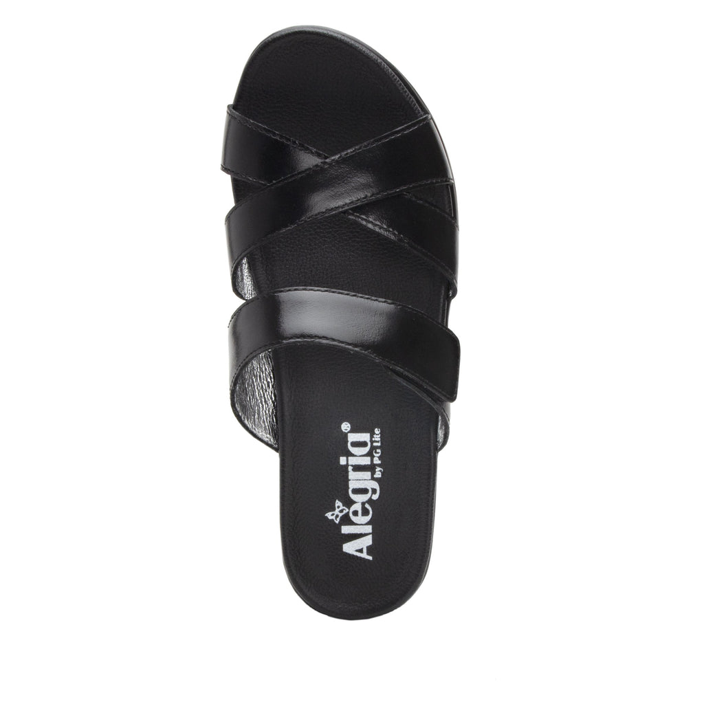 Mira Black flatform wedge slide sandal, with criss cross straps and hook and loop strap for adjustable comfort  - MIR-101_S4 (2140501016630)