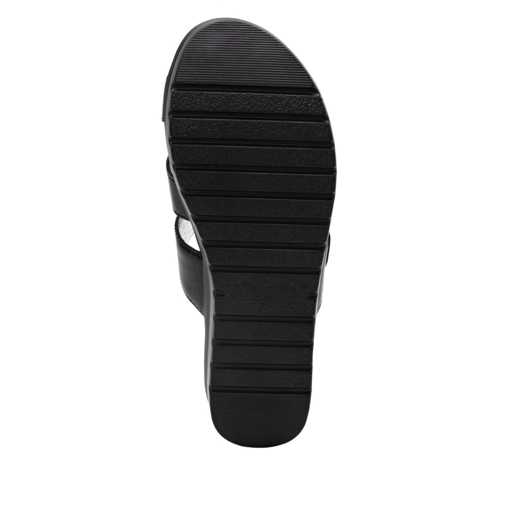 Mira Black flatform wedge slide sandal, with criss cross straps and hook and loop strap for adjustable comfort  - MIR-101_S5 (2140501016630)