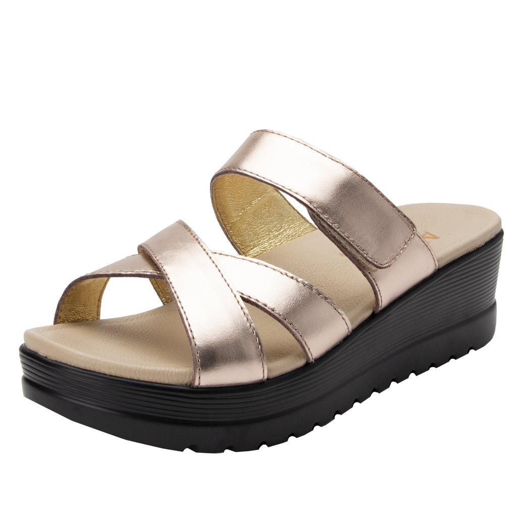 Mira Rose Gold flatform wedge slide sandal, with criss cross straps and hook and loop strap for adjustable comfort  - MIR-106_S1