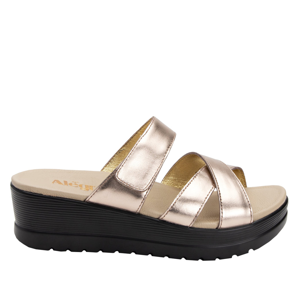 Mira Rose Gold flatform wedge slide sandal, with criss cross straps and hook and loop strap for adjustable comfort  - MIR-106_S2