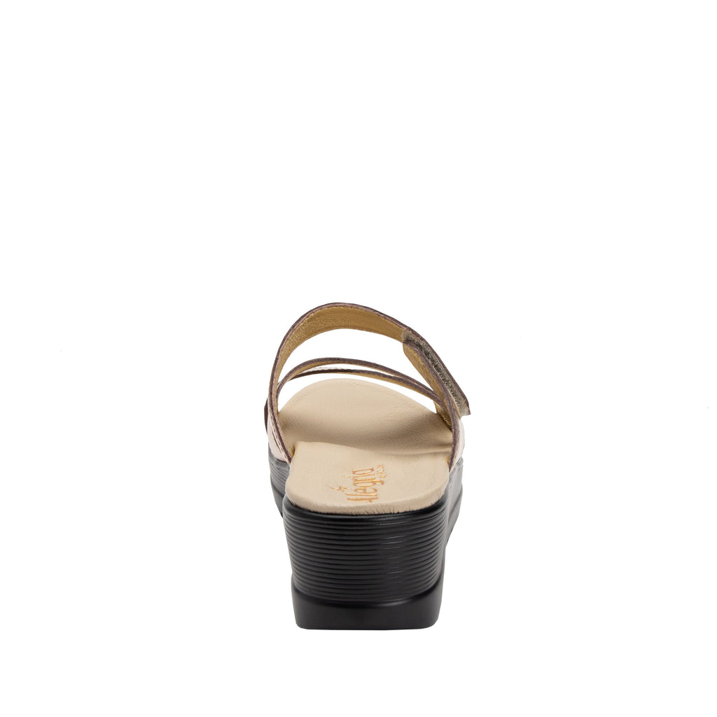 Mira Rose Gold flatform wedge slide sandal, with criss cross straps and hook and loop strap for adjustable comfort  - MIR-106_S3 (2140501966902)