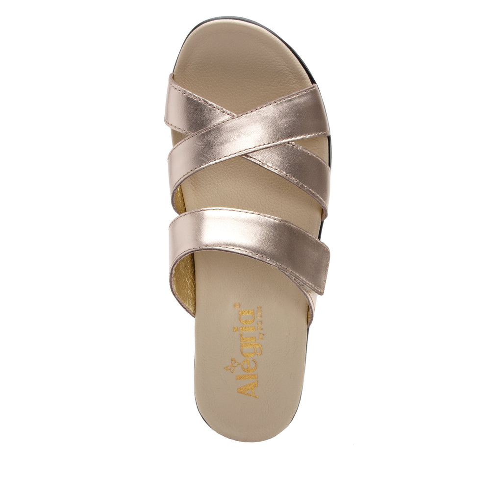 Mira Rose Gold flatform wedge slide sandal, with criss cross straps and hook and loop strap for adjustable comfort  - MIR-106_S4 (2140501966902)
