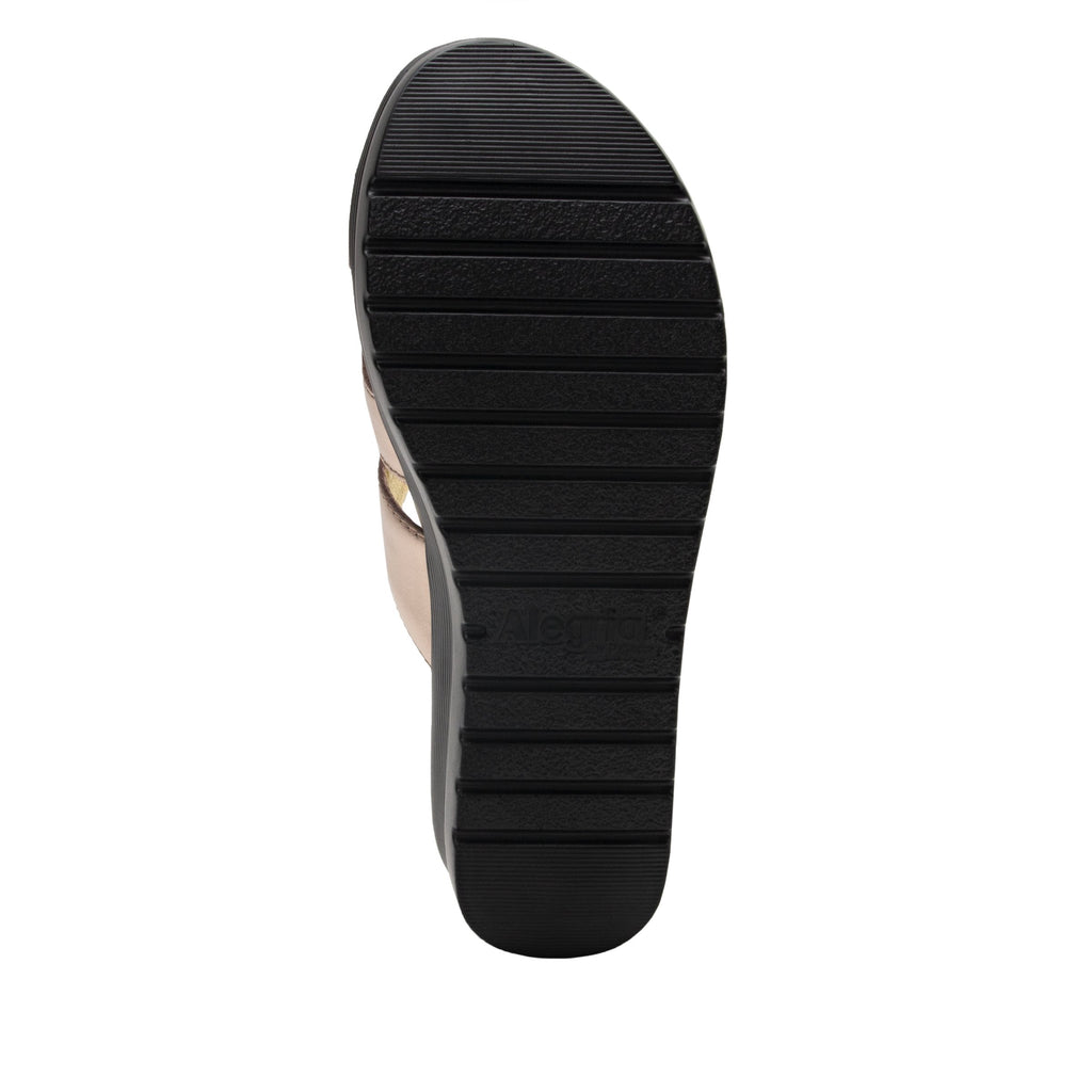 Mira Rose Gold flatform wedge slide sandal, with criss cross straps and hook and loop strap for adjustable comfort  - MIR-106_S5 (2140501966902)