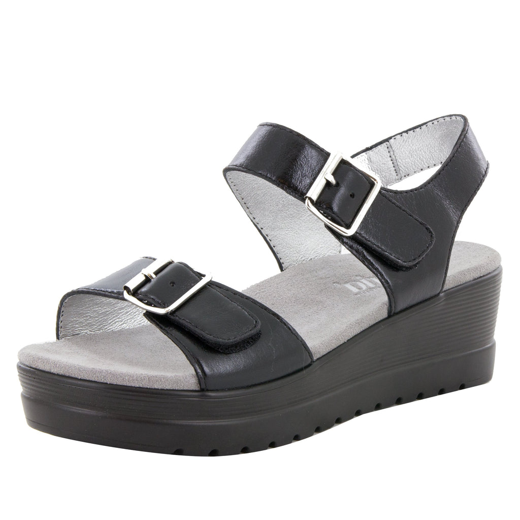 Morgyn Black Mirror flatform wedge sandal, with exposed leather footbed - MOR-159_S1