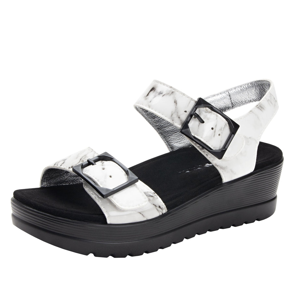 Morgyn Marbleized flatform wedge sandal, with exposed microsuede footbed - MOR-160_S1