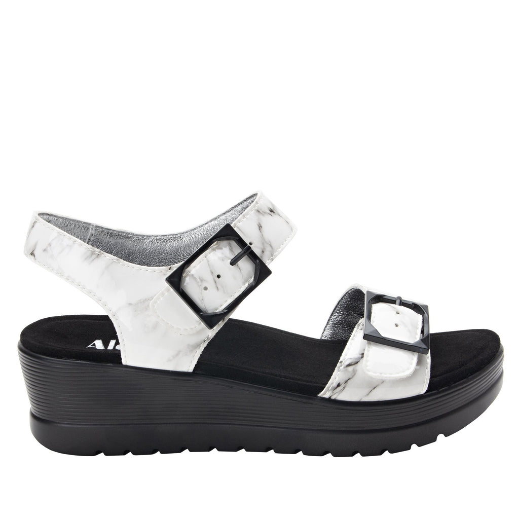 Morgyn Marbleized flatform wedge sandal, with exposed microsuede footbed - MOR-160_S2