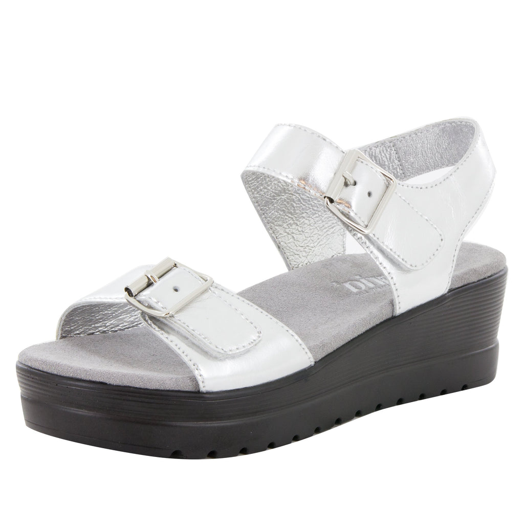 Morgyn Silver Mirror flatform wedge sandal, with exposed leather footbed - MOR-690_S1 (504275140662)