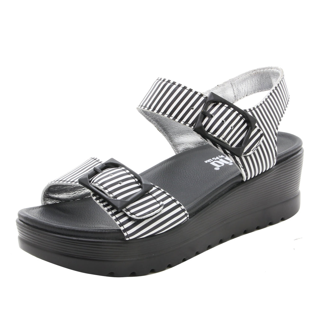 Morgyn Stripes flatform wedge sandal, with exposed leather footbed - MOR-879_S1