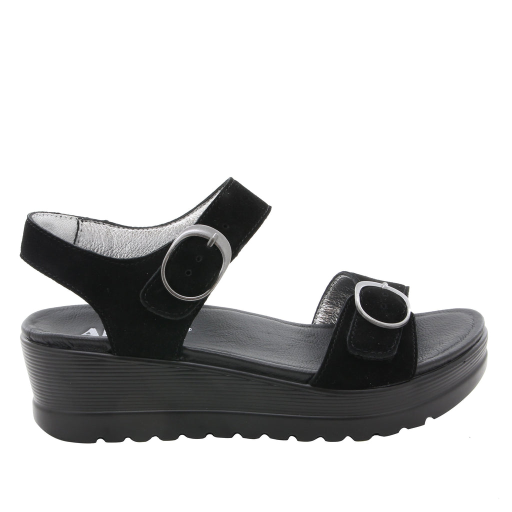 Morgyn Black Suede flatform wedge sandal, with exposed leather footbed - MOR-901_S2