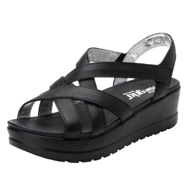 Myka Black Nappa flatform wedge sandal, with exposed leather footbed - MYK-601_S1