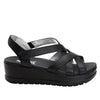 Myka Black Nappa flatform wedge sandal, with exposed leather footbed - MYK-601_S2