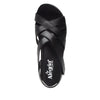 Myka Black Nappa flatform wedge sandal, with exposed leather footbed - MYK-601_S4
