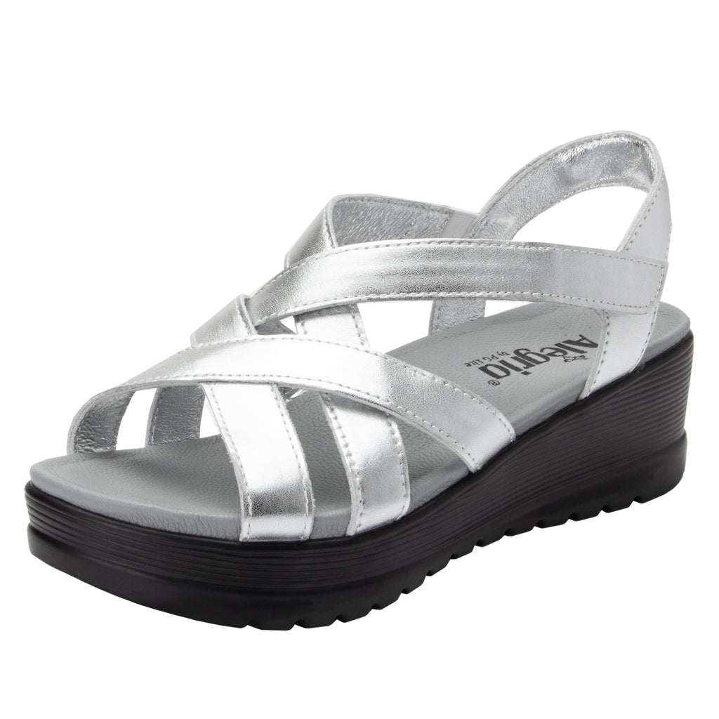 Myka Silver Flash flatform wedge sandal, with exposed leather footbed - MYK-690_S1 (2140366471222)