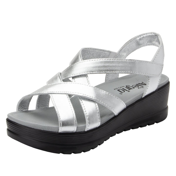 Myka Silver Flash flatform wedge sandal, with exposed leather footbed - MYK-690_S1