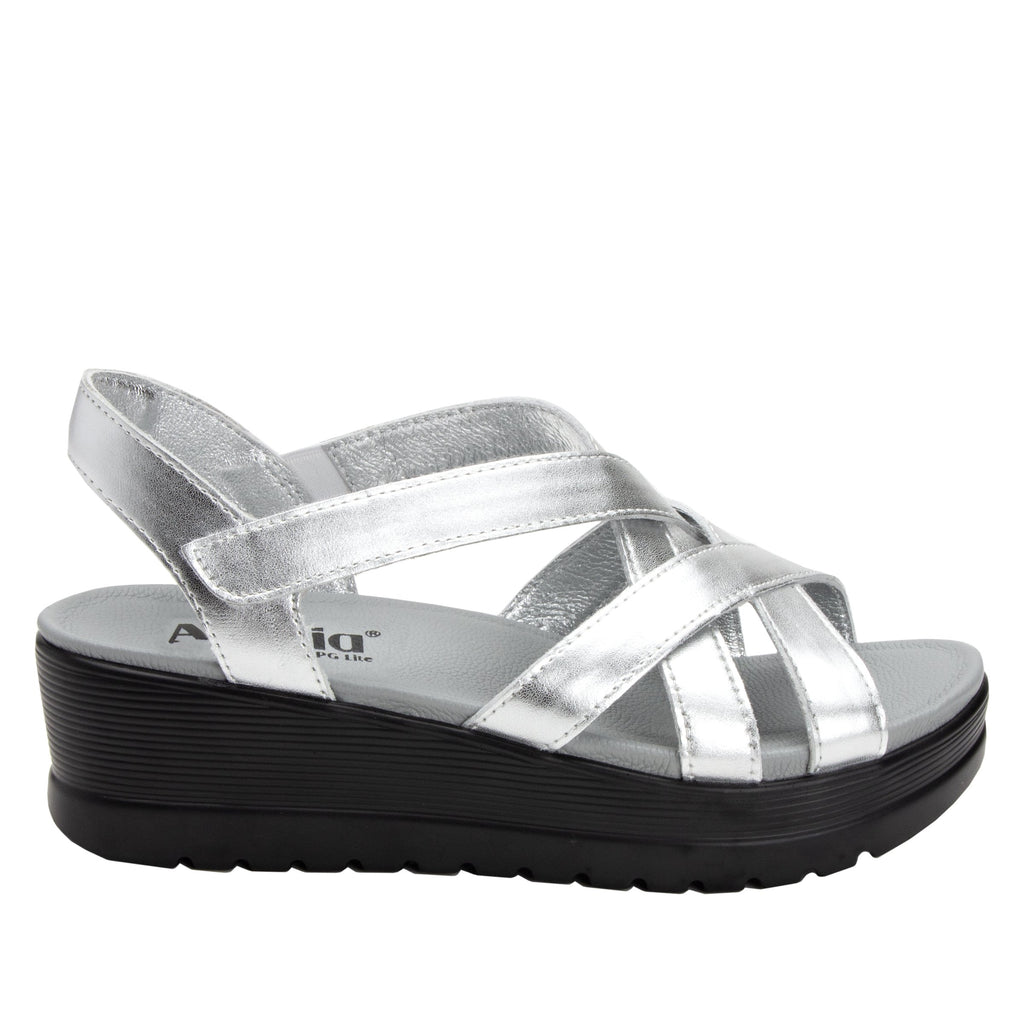 Myka Silver Flash flatform wedge sandal, with exposed leather footbed - MYK-690_S2