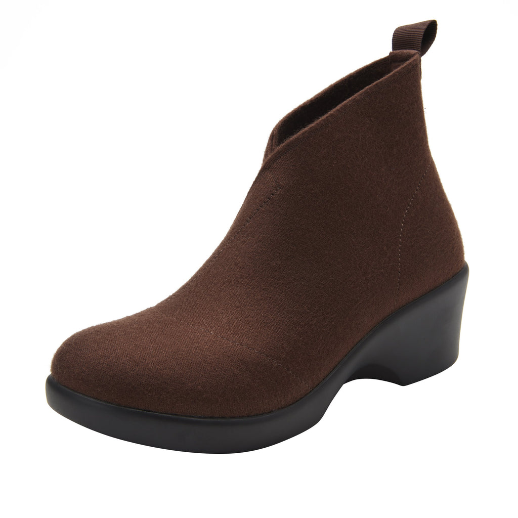 Nadya fashionable bootie on career fashion wedge in Mocha Fleece with Dream Fit™ elastic wool upper - NAD-7929_S1