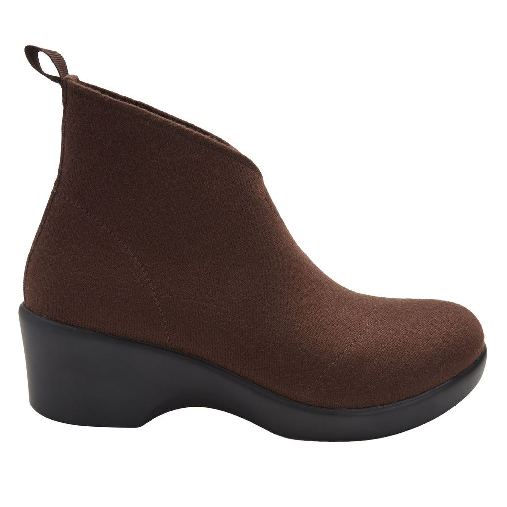 Nadya fashionable bootie on career fashion wedge in Mocha Fleece with Dream Fit™ elastic wool upper - NAD-7929_S2