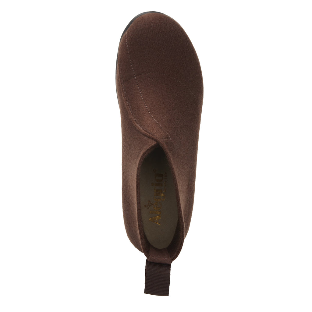 Nadya fashionable bootie on career fashion wedge in Mocha Fleece with Dream Fit™ elastic wool upper - NAD-7929_S4
