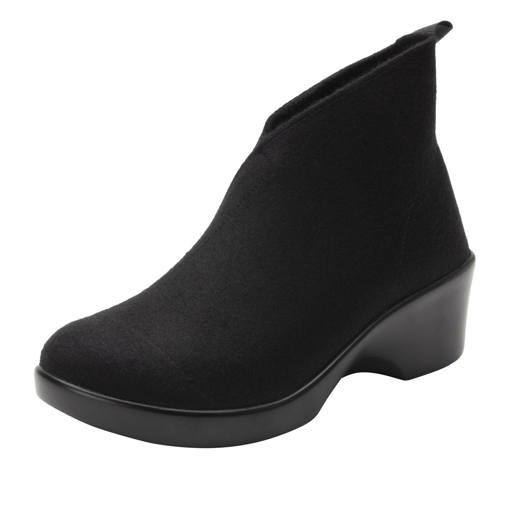 Nadya fashionable bootie on career fashion wedge in Black Fleece with Dream Fit™ elastic wool upper - NAD-7930_S1