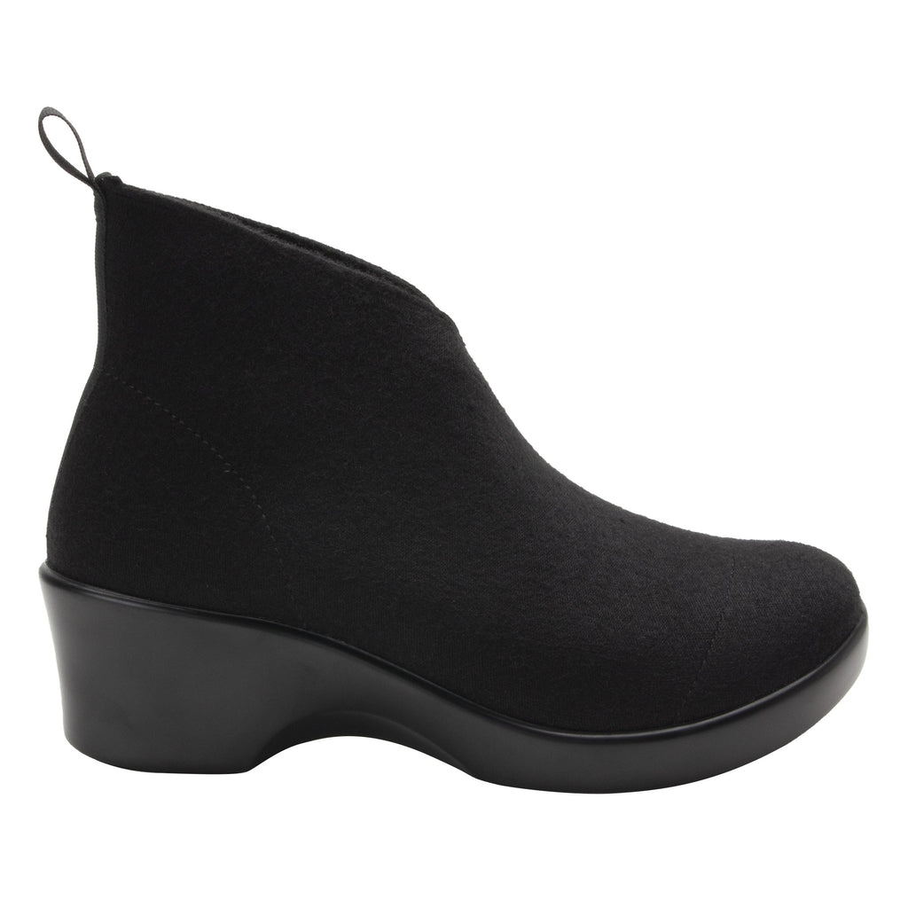 Nadya fashionable bootie on career fashion wedge in Black Fleece with Dream Fit™ elastic wool upper - NAD-7930_S2