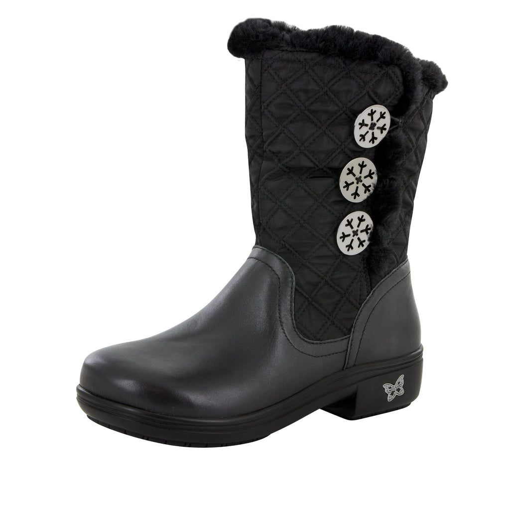 Nanook Quilted Black Boot - Alegria Shoes - 1