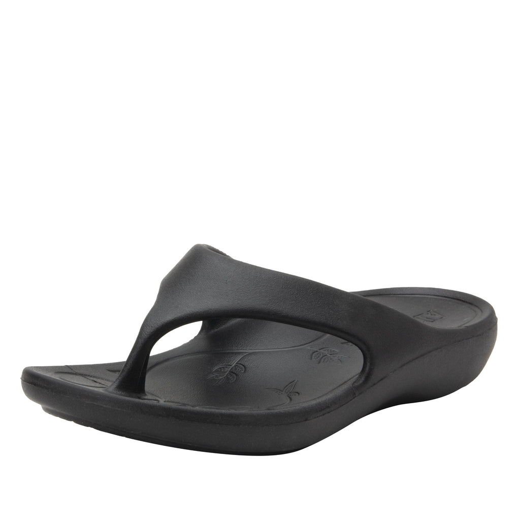 Ode Black EVA thong sandal on recovery rocker outsole - ODE-601_S1