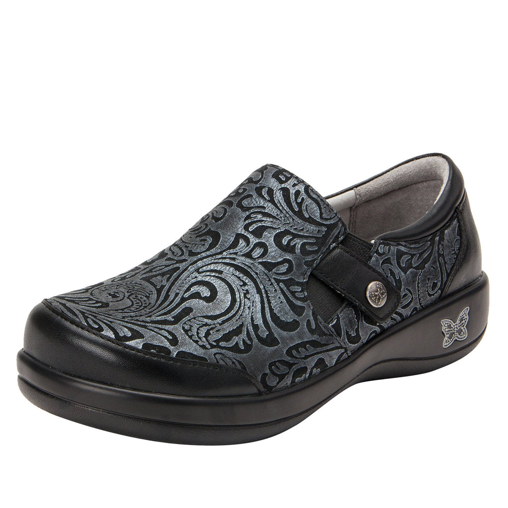Paityn Pewter Swish slip on style shoe with contrast leather detailing and career casual outsole - PAI-185_S1 (2301136175158)