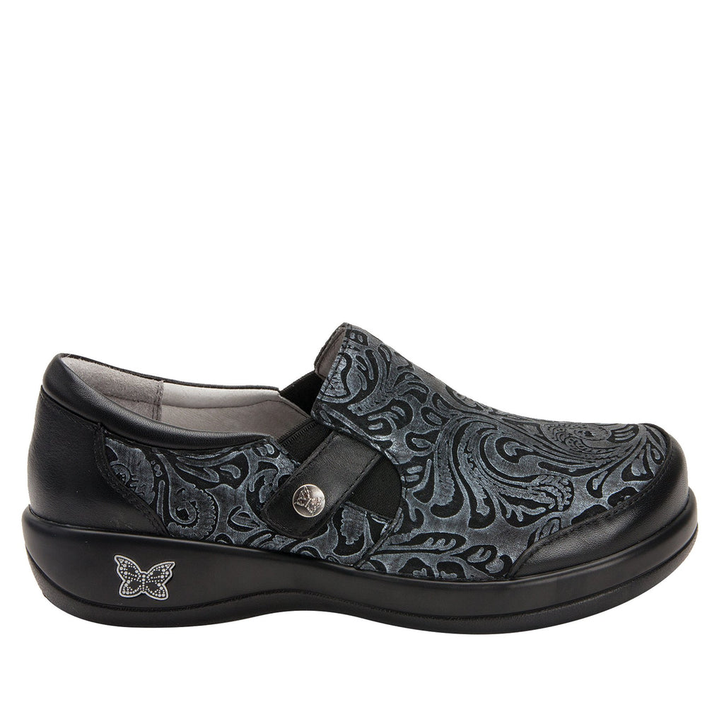 Paityn Pewter Swish slip on style shoe with contrast leather detailing and career casual outsole - PAI-185_S2
