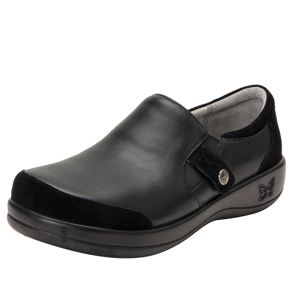 Paityn Black Swish slip on style shoe with contrast leather detailing and career casual outsole - PAI-601_S1