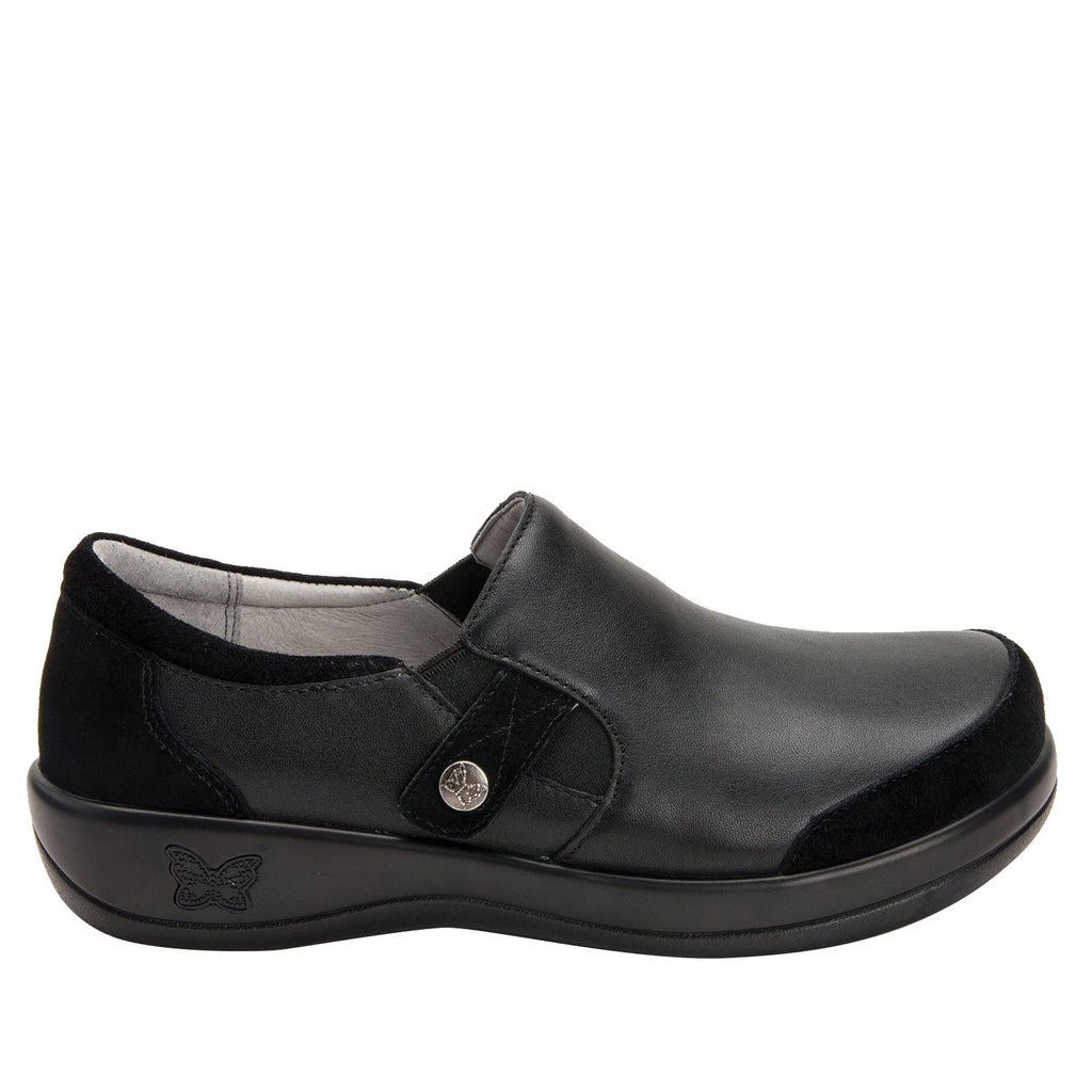 Paityn Black Swish slip on style shoe with contrast leather detailing and career casual outsole - PAI-601_S2
