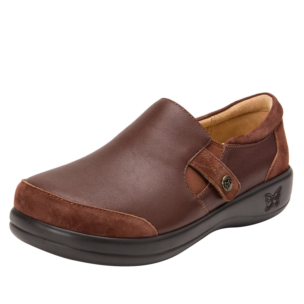 Paityn Cocoa slip on style shoe with contrast leather detailing and career casual outsole - PAI-612_S1 (2301136404534)