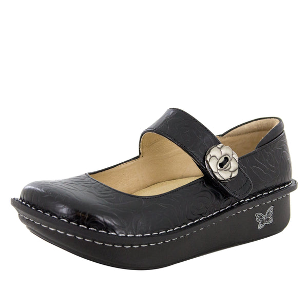 Paloma Black Embossed Rose Mary Jane