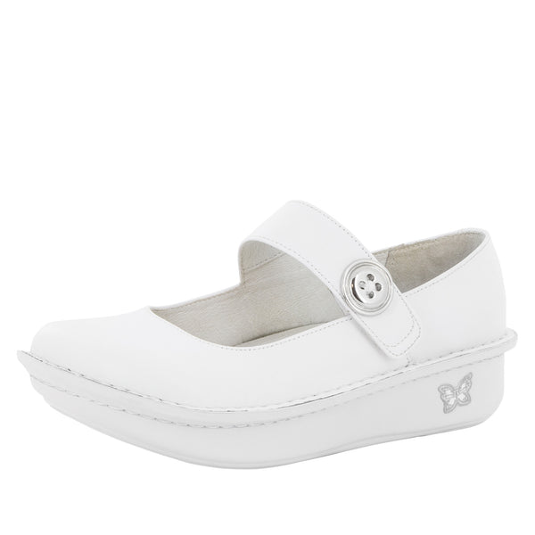 Paloma White Nappa Mary Jane - Alegria Shoes