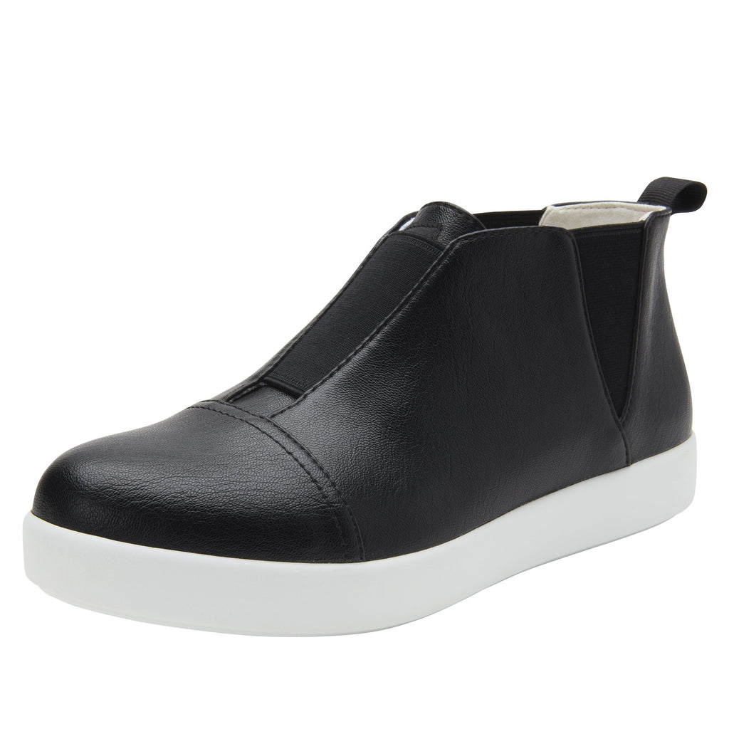 Parker Black Nappa slip-on bootie on the Comfort Athleisure outsole, a fashionable choice for your outfit of the day.  PAR-601_S1