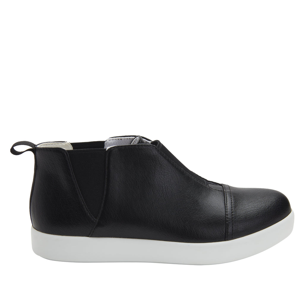 Parker Black Nappa slip-on bootie on the Comfort Athleisure outsole, a fashionable choice for your outfit of the day.  PAR-601_S2