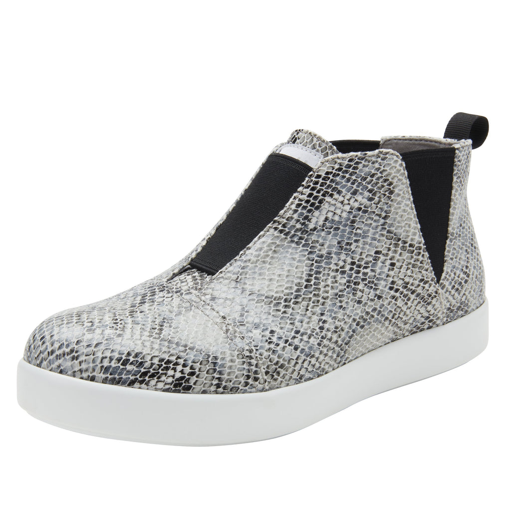 Parker Grey Snake slip-on bootie on the Comfort Athleisure outsole, a fashionable choice for your outfit of the day.  PAR-7915_S1