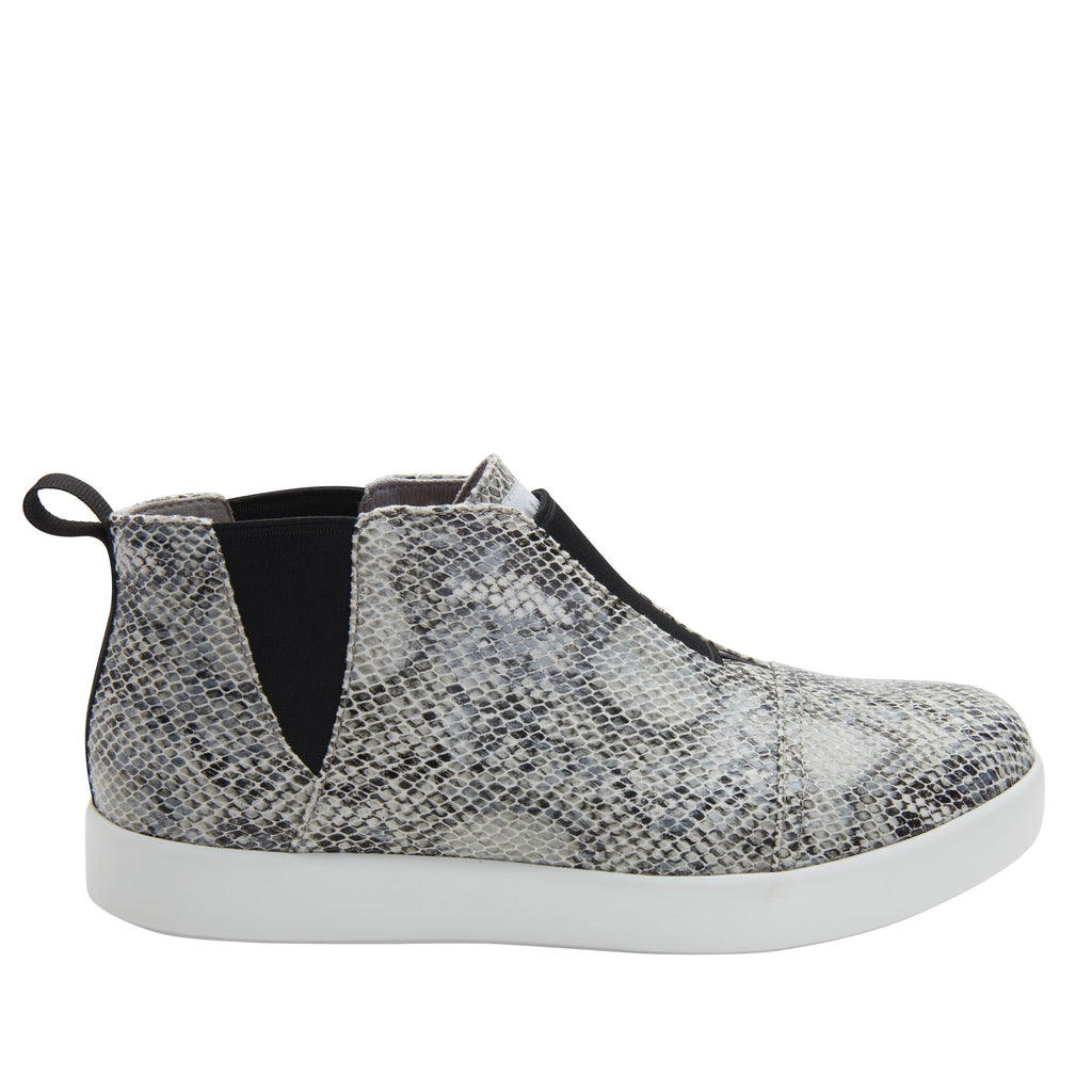 Parker Grey Snake slip-on bootie on the Comfort Athleisure outsole, a fashionable choice for your outfit of the day.  PAR-7915_S2