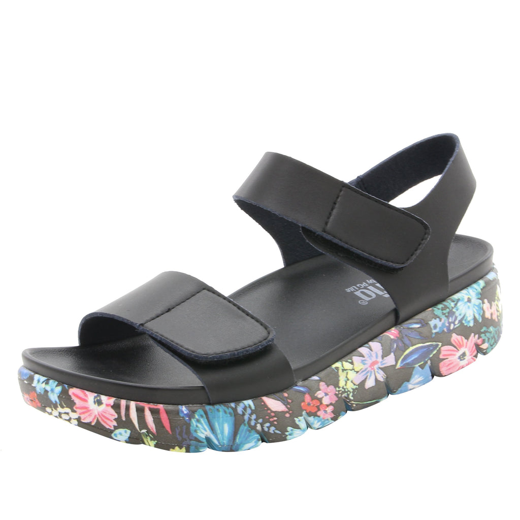 Playa Oasis Black two strap adjustable sandal with contoured footbed and printed heritage sport outsole - PLA-174_S1