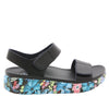 Playa Oasis Black two strap adjustable sandal with contoured footbed and printed heritage sport outsole - PLA-174_S2