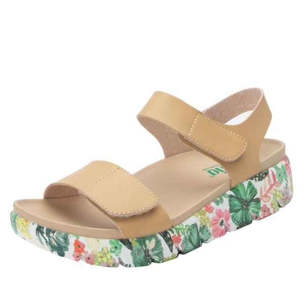 Playa Oasis Natural two strap adjustable sandal with contoured footbed and printed heritage sport outsole - PLA-175_S1