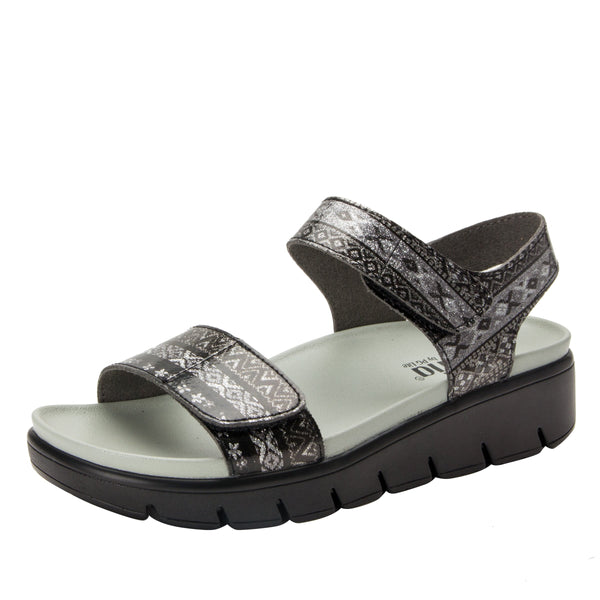 Playa Pow Wow Pewter two strap adjustable sandal with contoured footbed and heritage sport outsole - PLA-593_S1