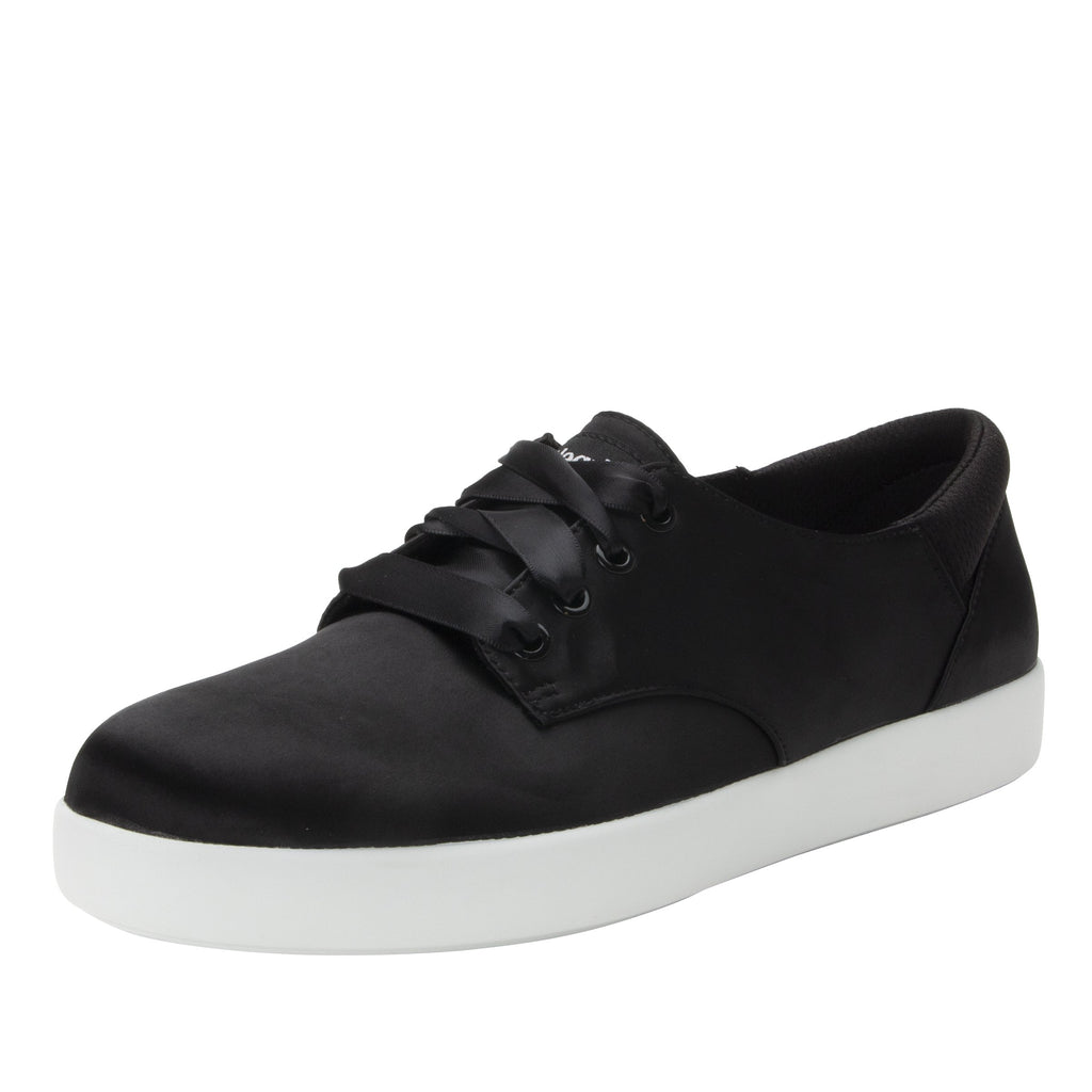 Poly Black Satin casual shoe on Comfort Athleisure outsole, with stain-guarded vegan textile upper for added flair.  POL-7900_S1