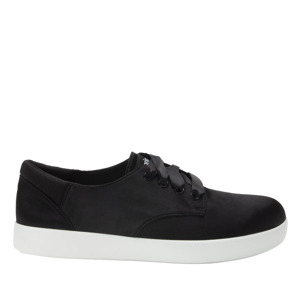 Poly Black Satin casual shoe on Comfort Athleisure outsole, with stain-guarded vegan textile upper for added flair.  POL-7900_S2