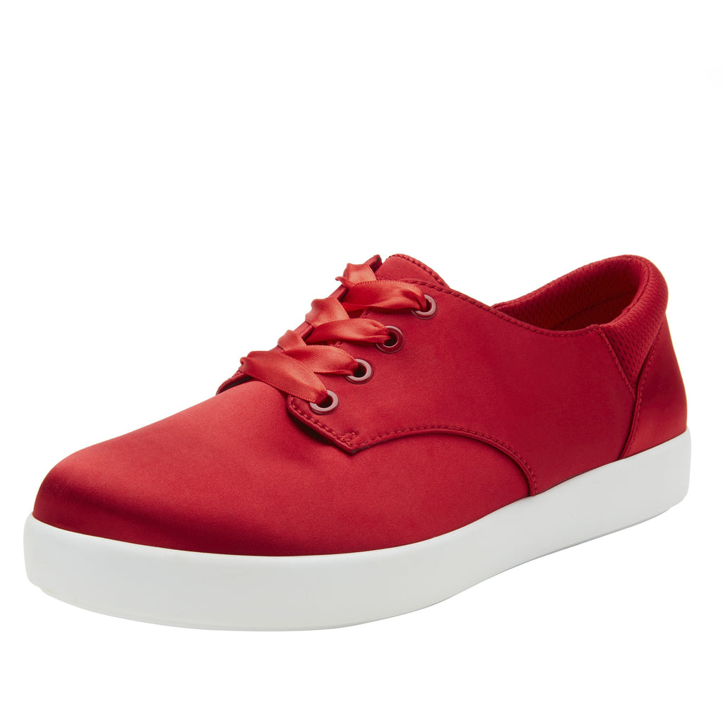 Poly Red Satin casual shoe on Comfort Athleisure outsole, with stain-guarded vegan textile upper for added flair.  POL-7902_S1