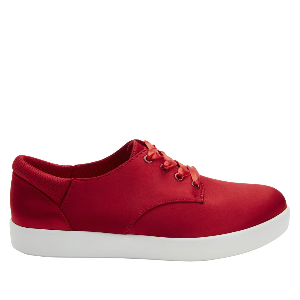 Poly Red Satin casual shoe on Comfort Athleisure outsole, with stain-guarded vegan textile upper for added flair.  POL-7902_S2