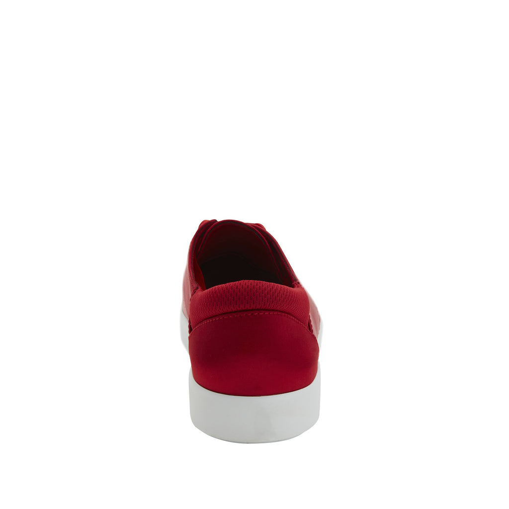Poly Red Satin casual shoe on Comfort Athleisure outsole, with stain-guarded vegan textile upper for added flair.  POL-7902_S3