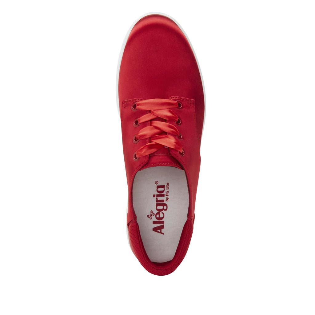 Poly Red Satin casual shoe on Comfort Athleisure outsole, with stain-guarded vegan textile upper for added flair.  POL-7902_S4