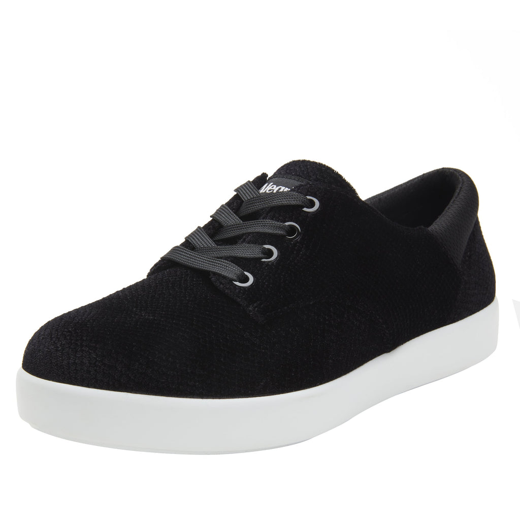 Poly Black Velvet Snake casual shoe on Comfort Athleisure outsole, with stain-guarded vegan textile upper for added flair.  POL-7904_S1