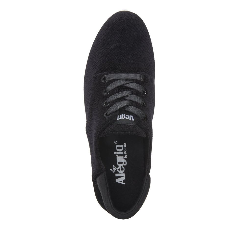 Poly Black Velvet Snake casual shoe on Comfort Athleisure outsole, with stain-guarded vegan textile upper for added flair.  POL-7904_S4
